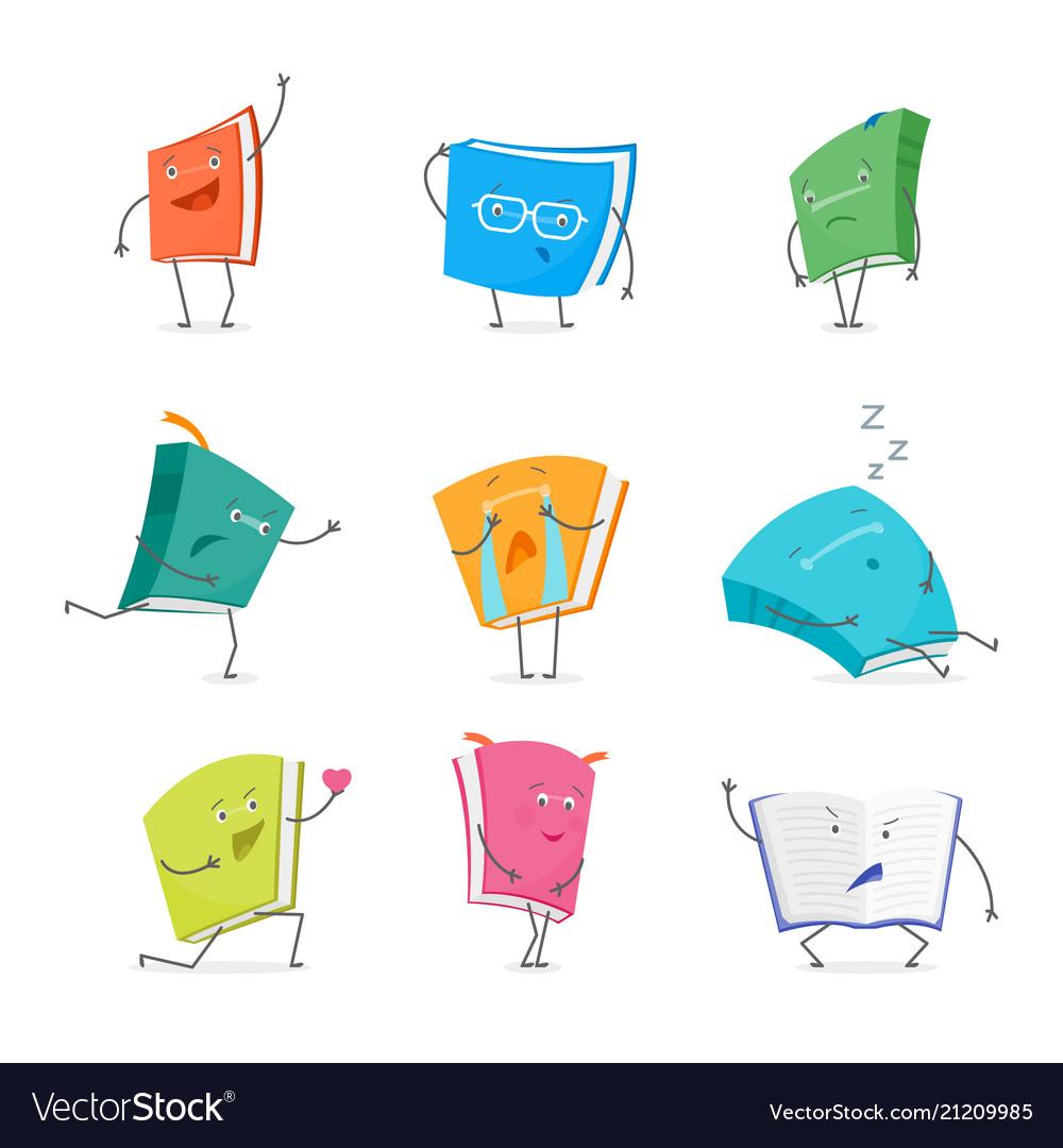 Cartoon book emoji characters set