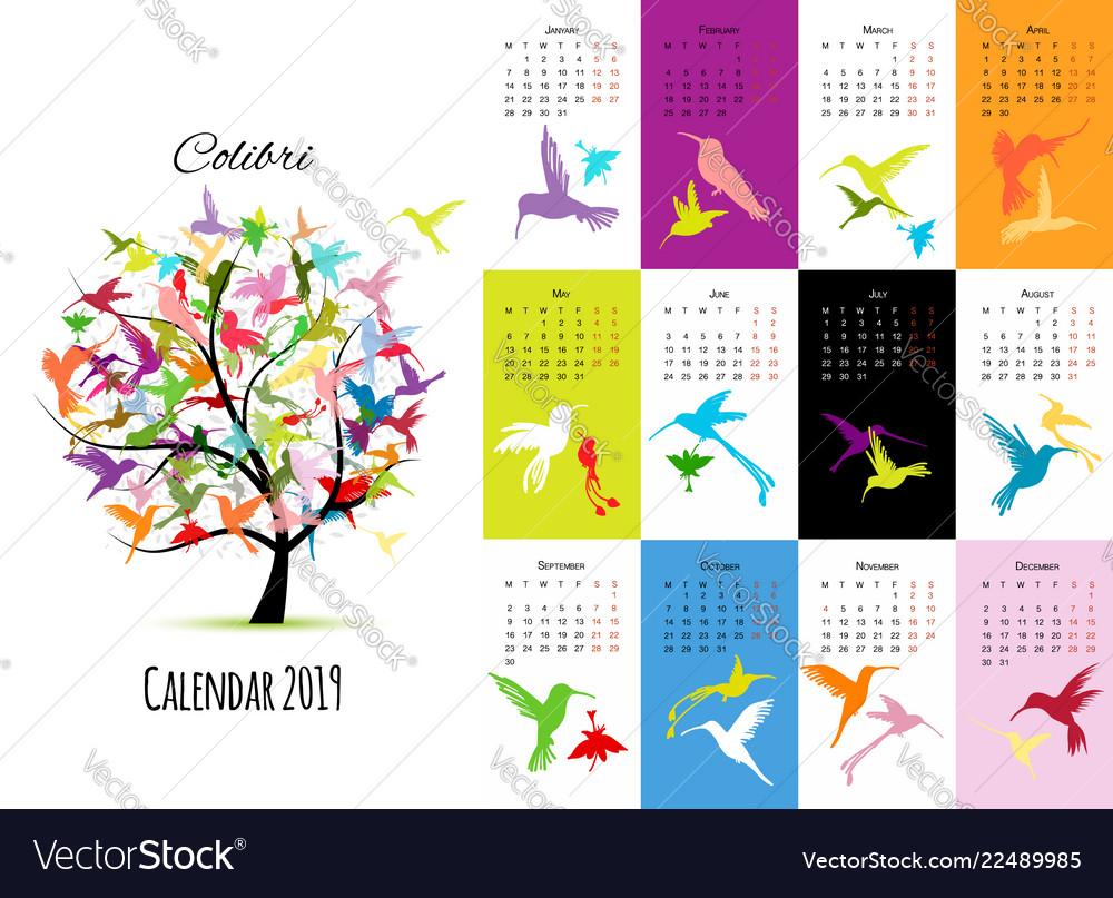 Colibri calendar 2019 design