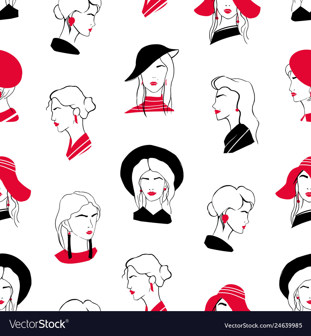 Elegant seamless pattern with heads of beautiful