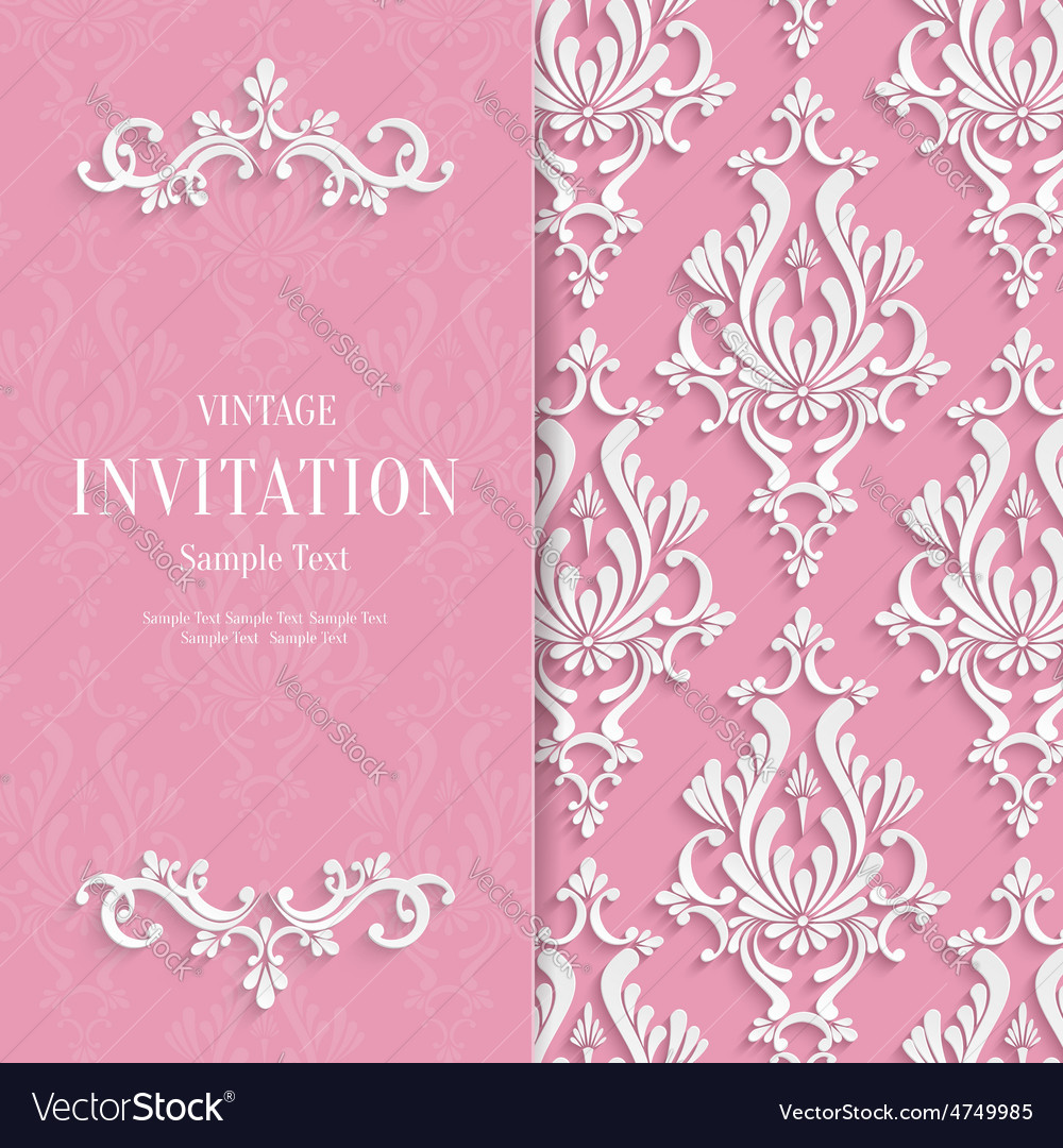 Pink Floral 3d Wedding Invitation Royalty Free Vector Image