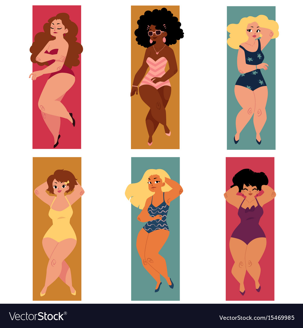 Plump overweight plus size curvy women girls in
