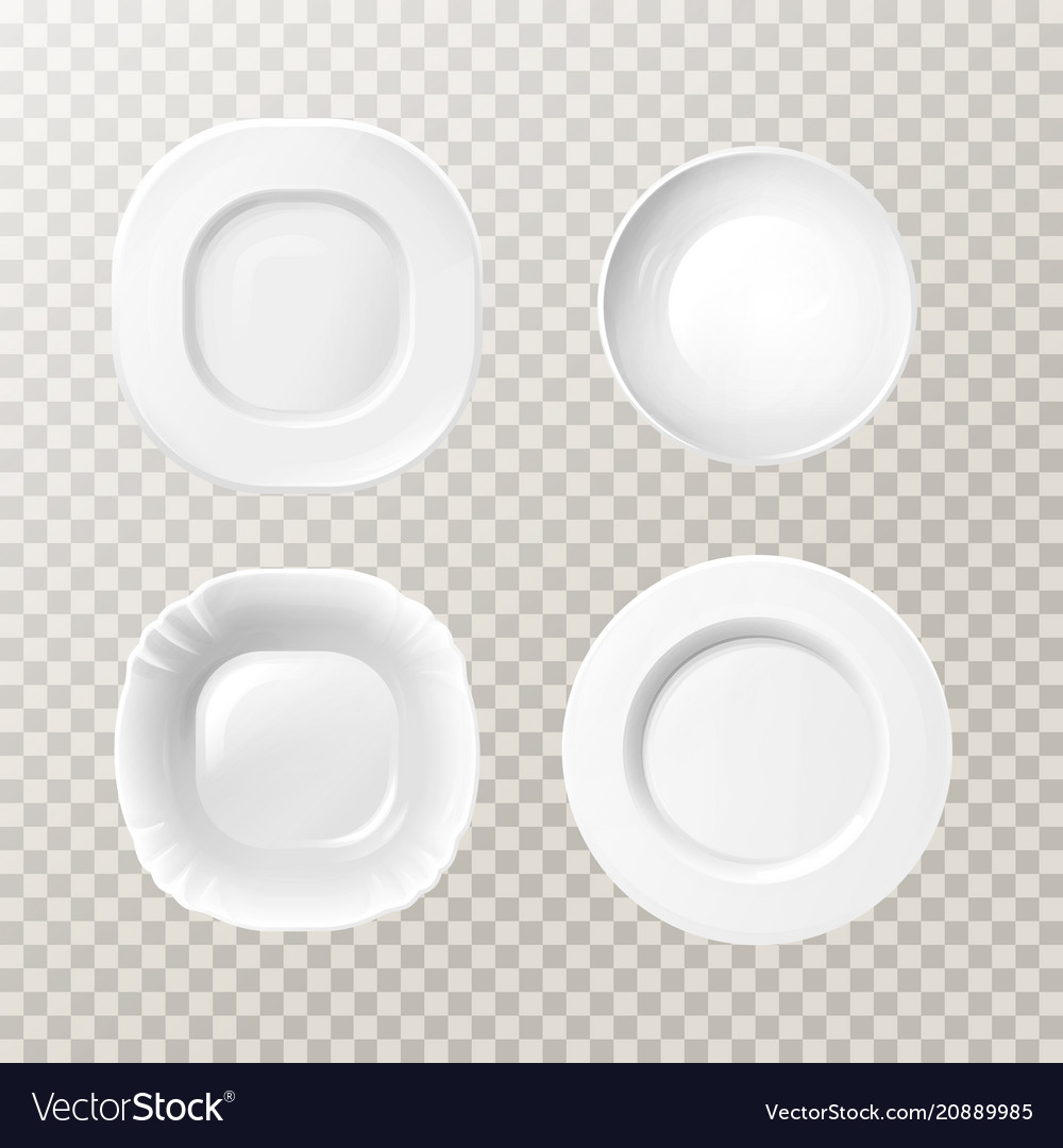 Realistic blank kitchen plates dishes set