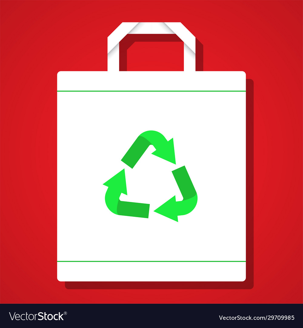 White reuse bag on red background