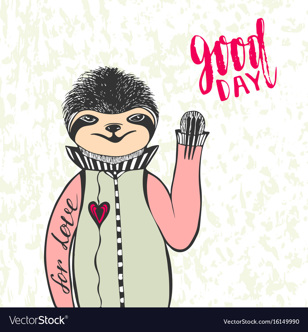 Cute hand drawn sloth with handwriting lettering vector image