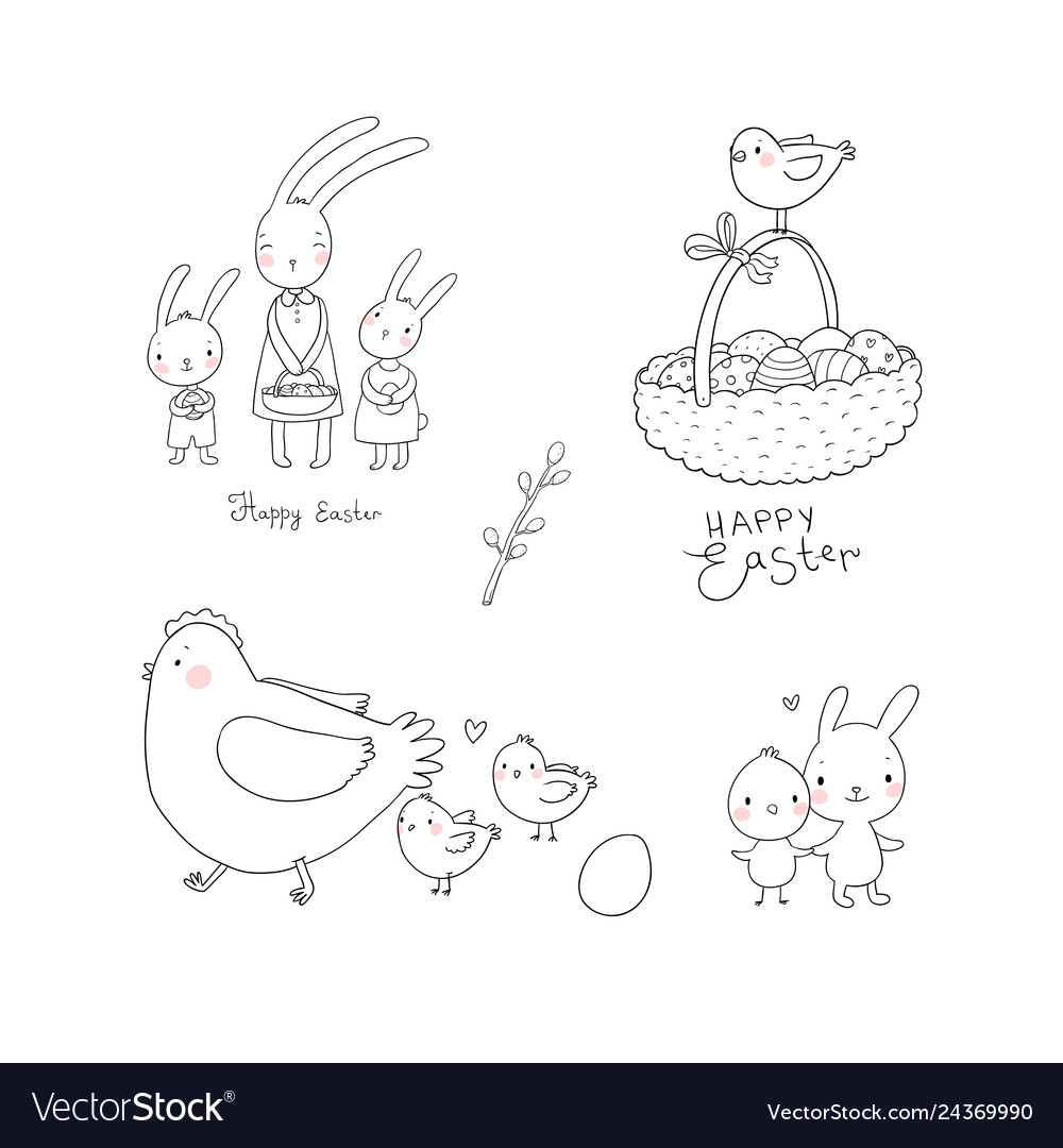 Easter bunnies and chickens eggs and paint cute