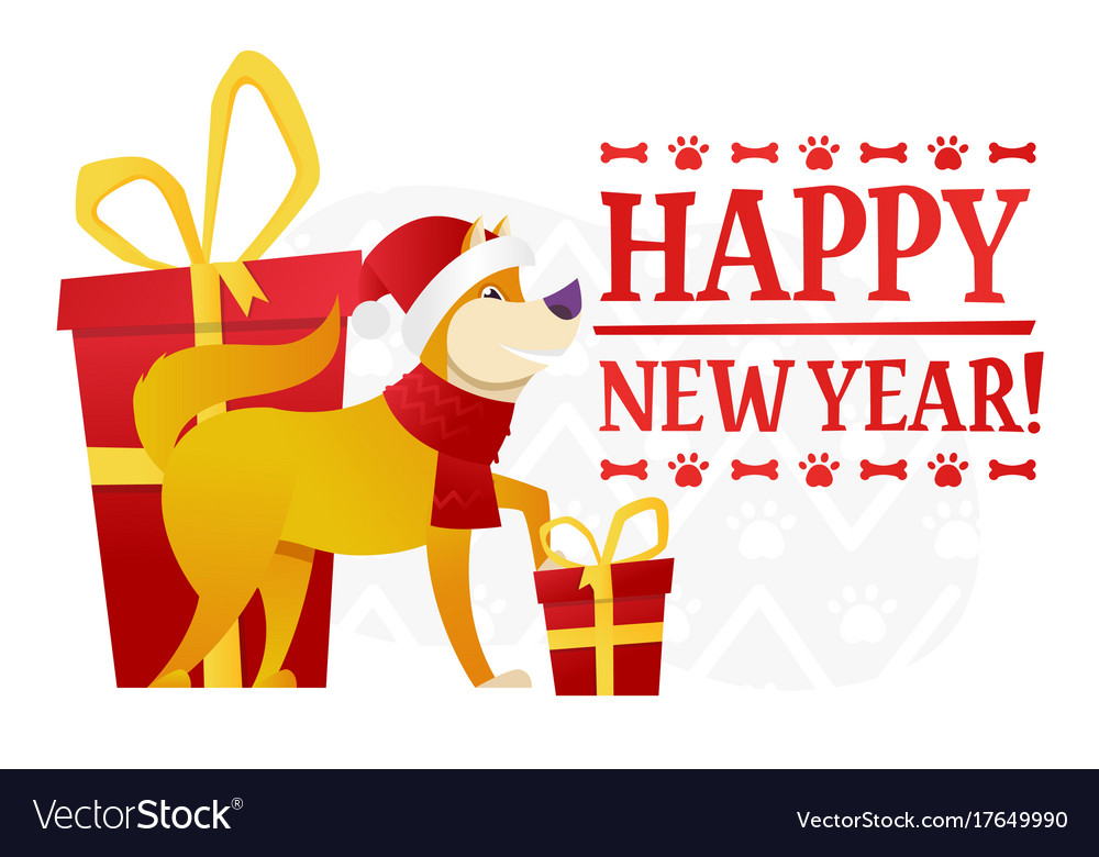 happy new year postcard template with the cute vector image