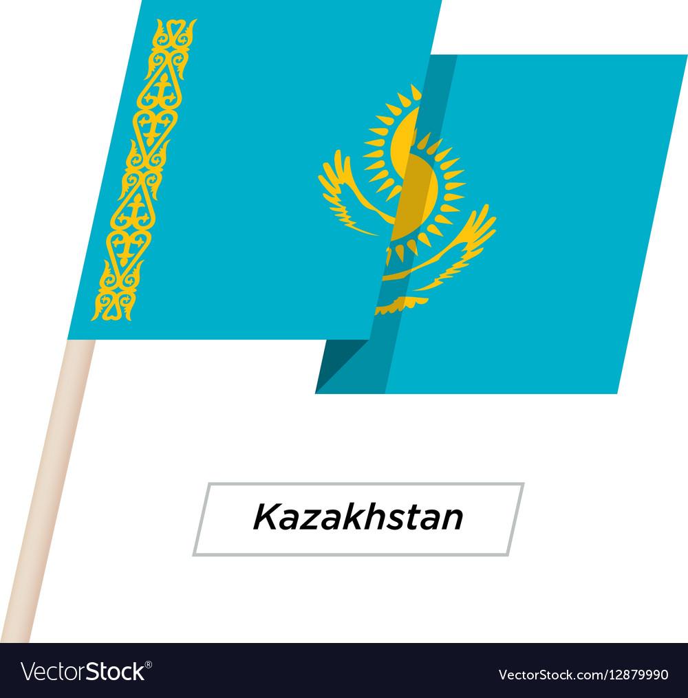 Kazakhstan Ribbon Waving Flag Isolated on White
