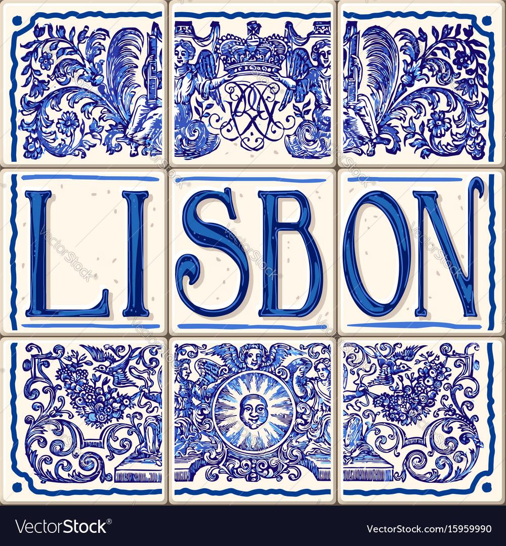 Lisbon ceramic lisboa ceramic fridge magnet vector image
