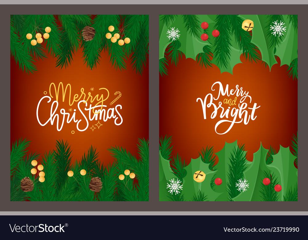Merry christmas lettering greeting card mistletoe