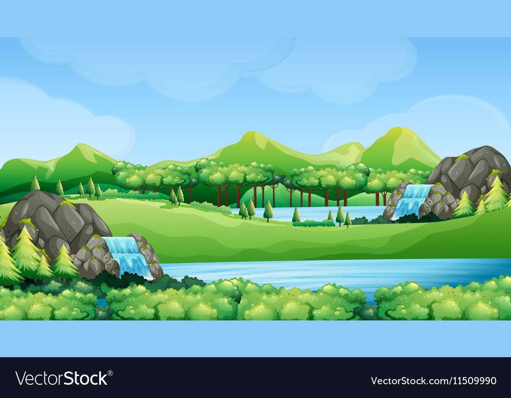 Nature scene with waterfalls and lake vector image