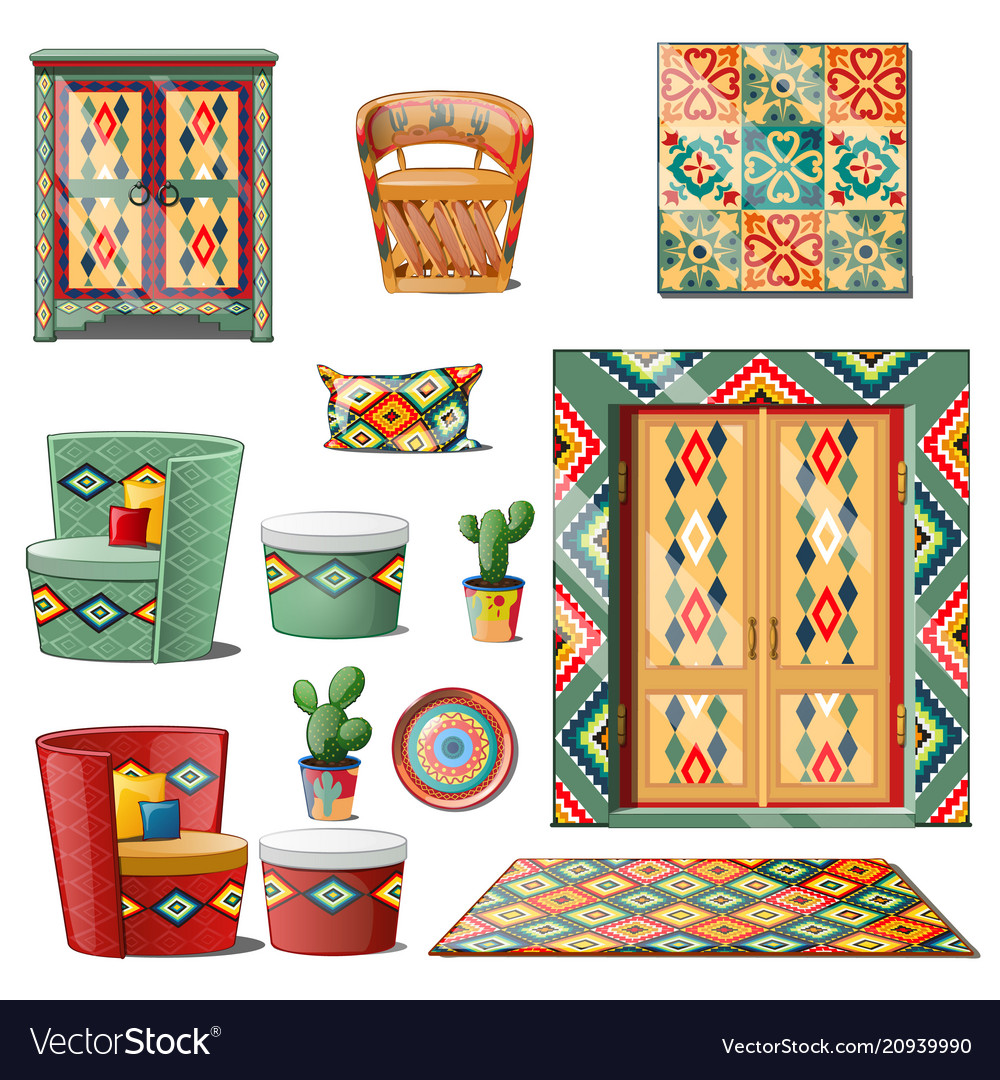 Set interior mexican style isolated on white