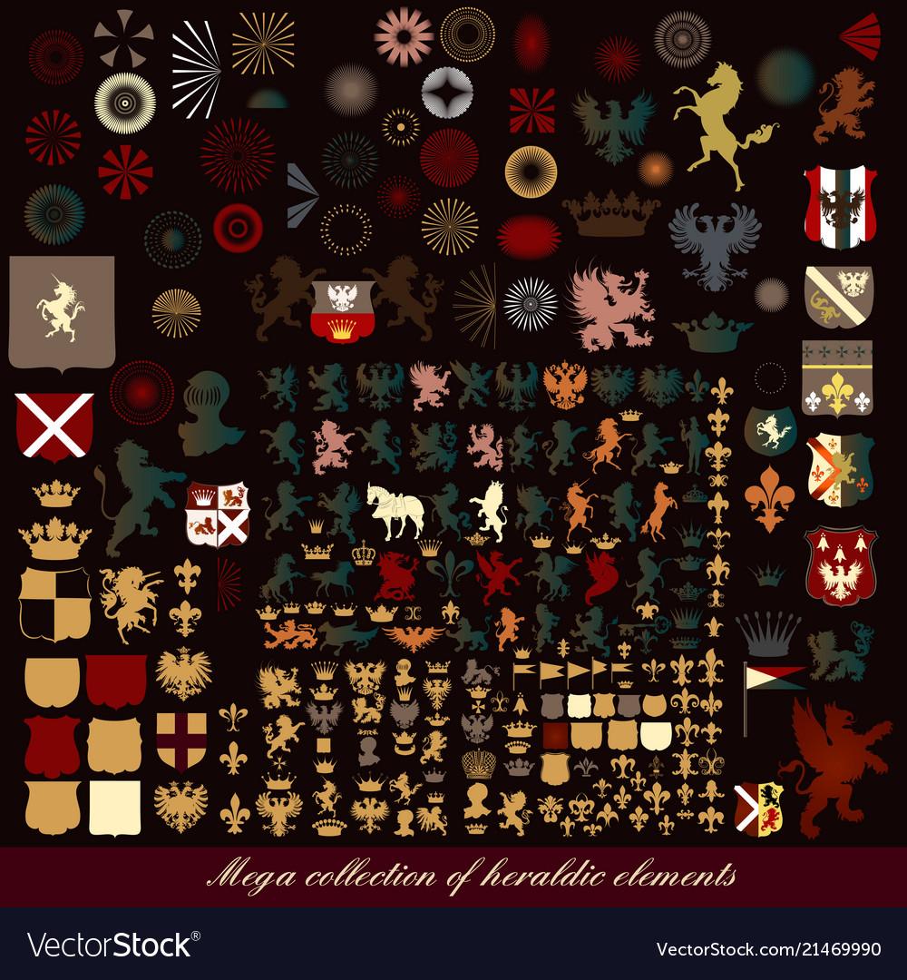 Set of vintage heraldic elements for design