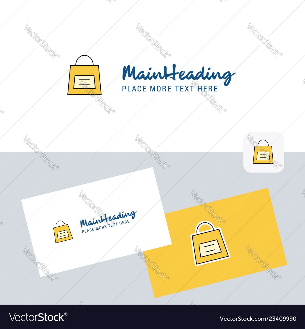Shopping bag logotype with business card template
