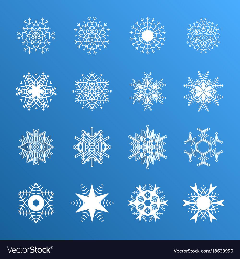 Snowflake Icons Snow Symbol Royalty Free Vector Image