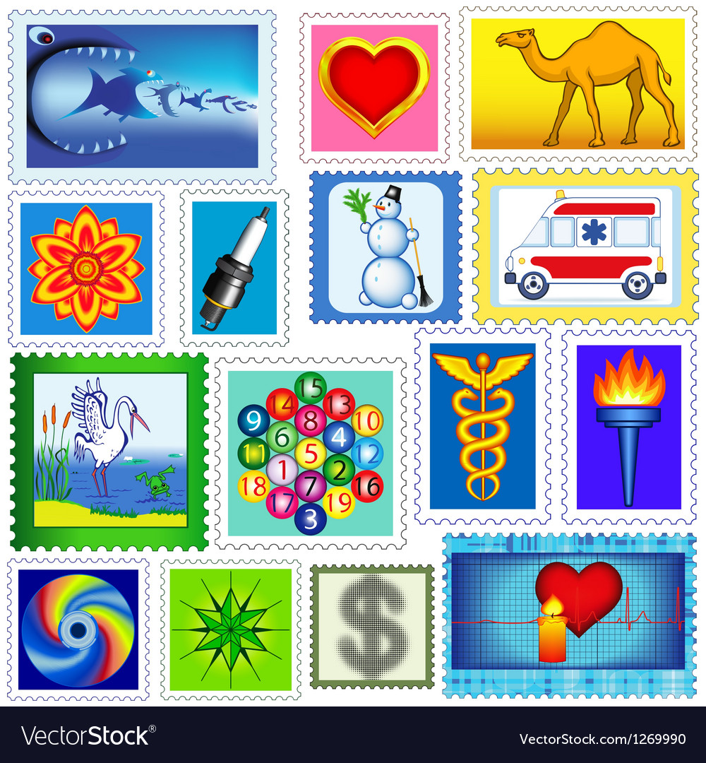 Stamps set vector image