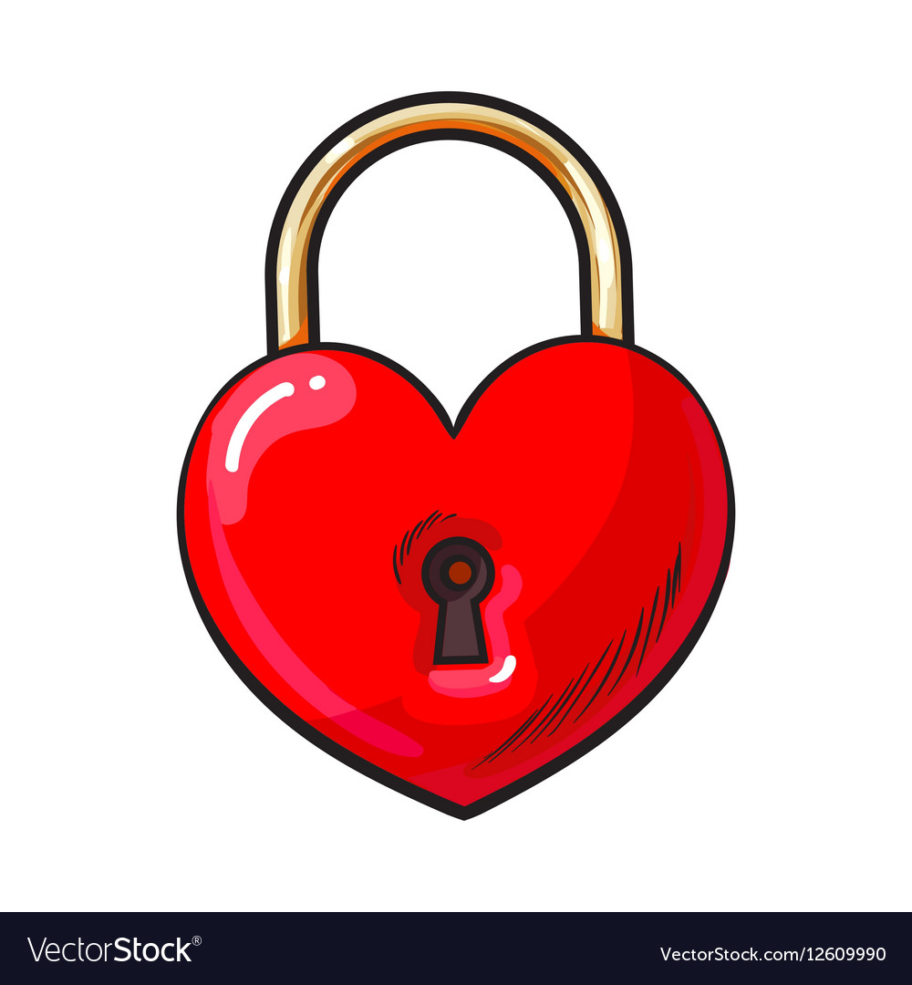 Traditional red heart shaped padlock for love lock