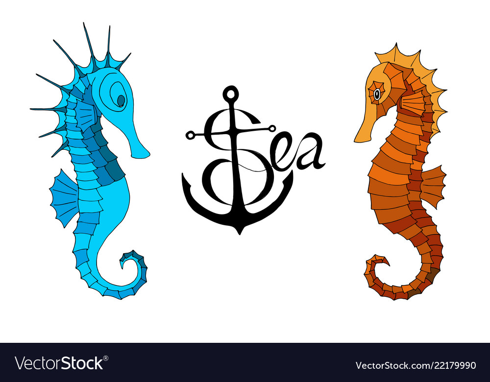 Two seahorses and a calligraphic inscription with