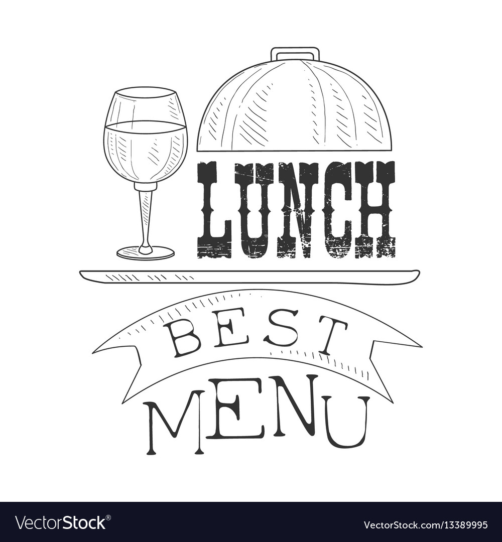 Best cafe lunch menu promo sign in sketch style