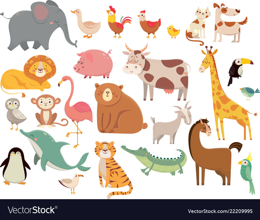 Cartoon animals cute elephant and lion giraffe