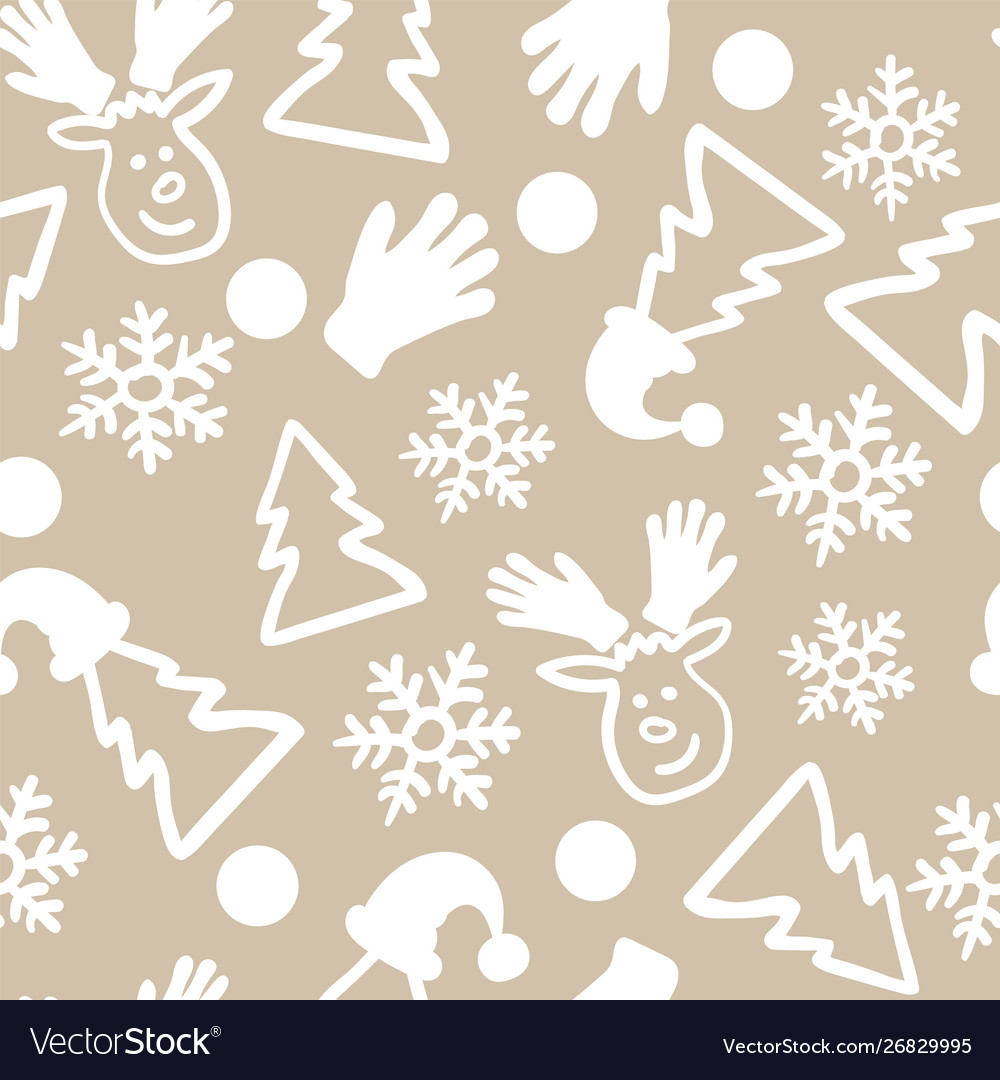 Christmas doodle seamless pattern repeat