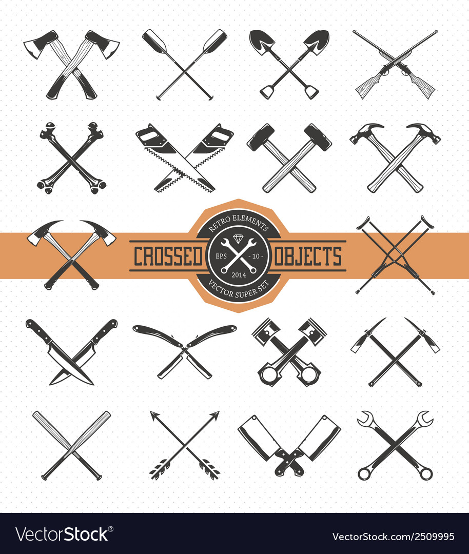 Crossed Retro Objects vector image