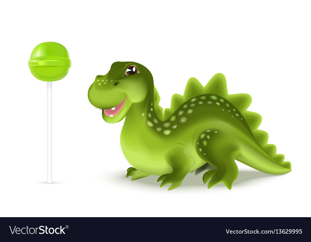 Cute cartoon dinosaur dragon character with green