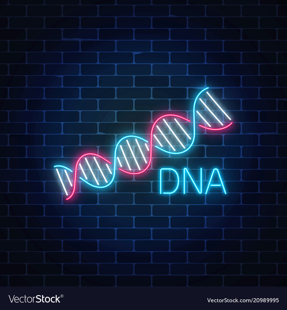 Dna sequence sign in neon style on dark brick wall