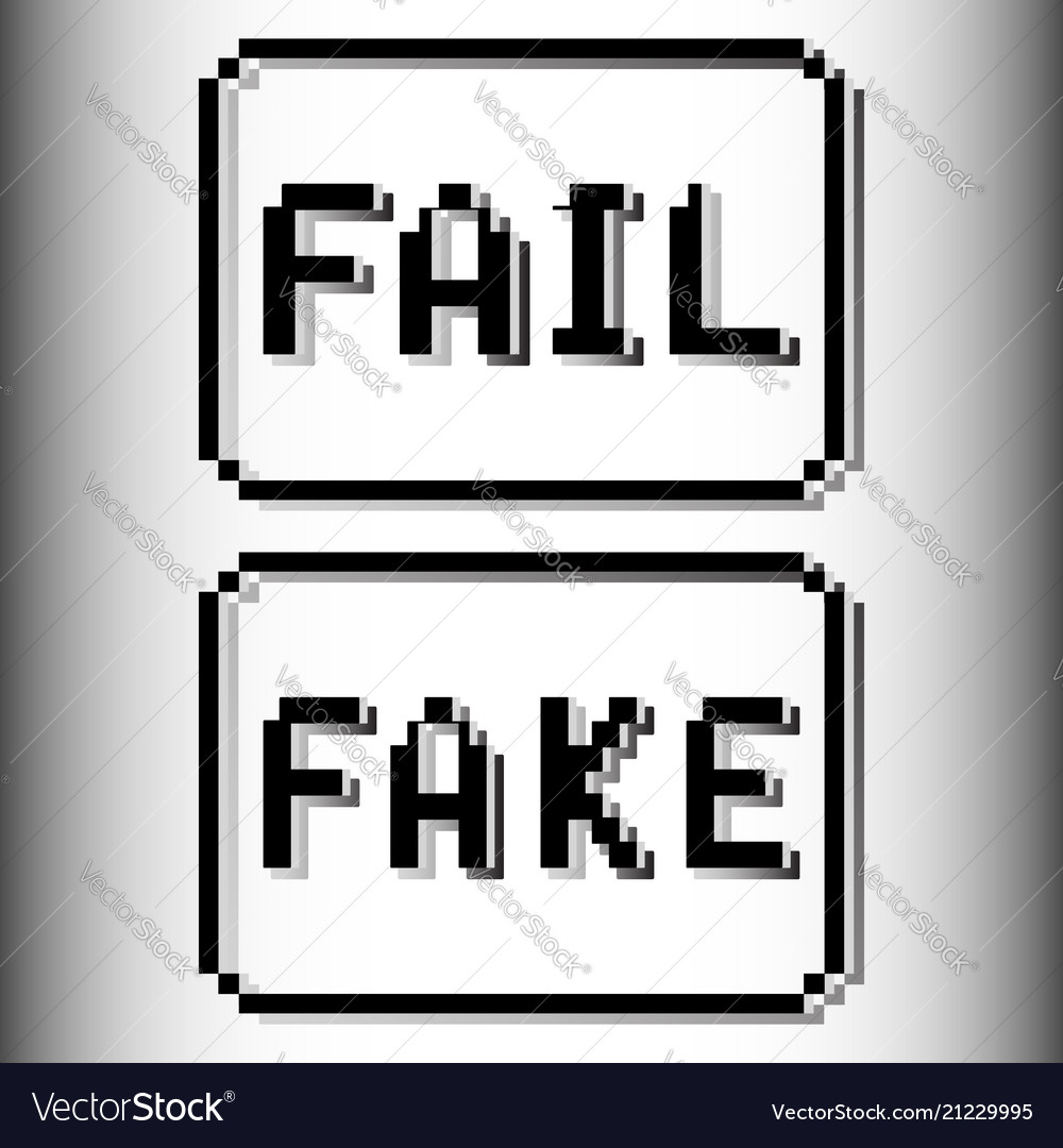 Fail and fake pixel stamp old video game design