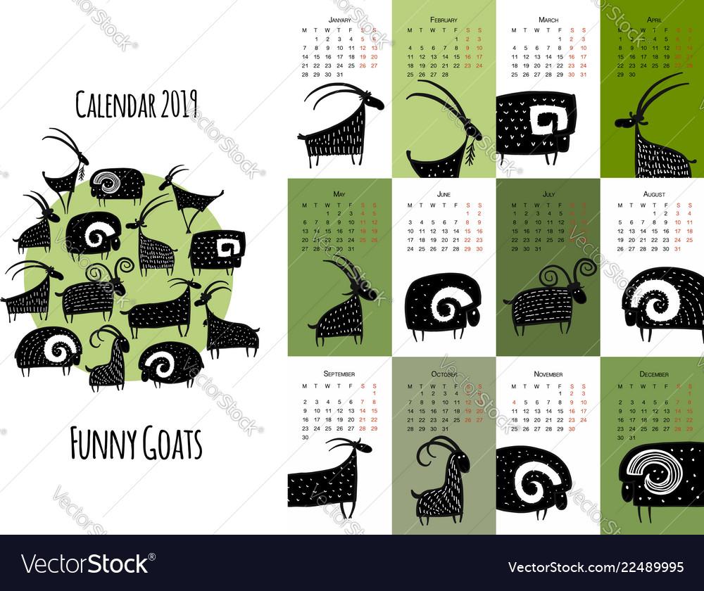 Funny goats calendar 2019 design
