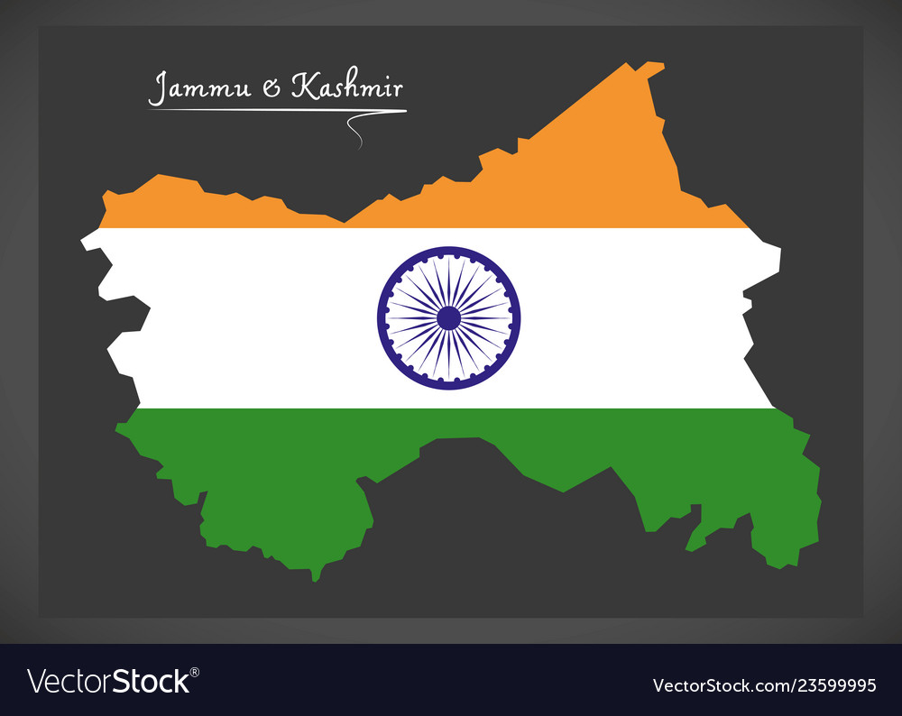 Jammu and kashmir map with indian national flag