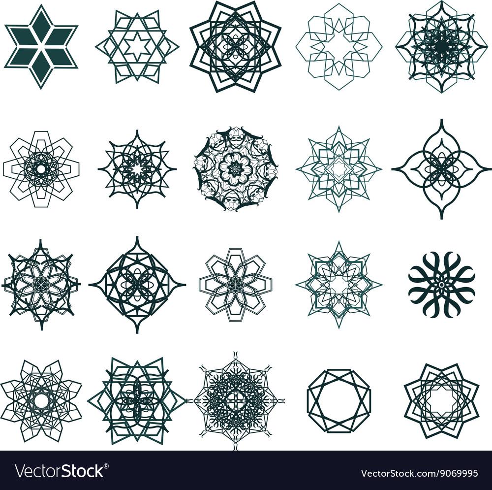 Ramadan Kareem geometric ornamental signs