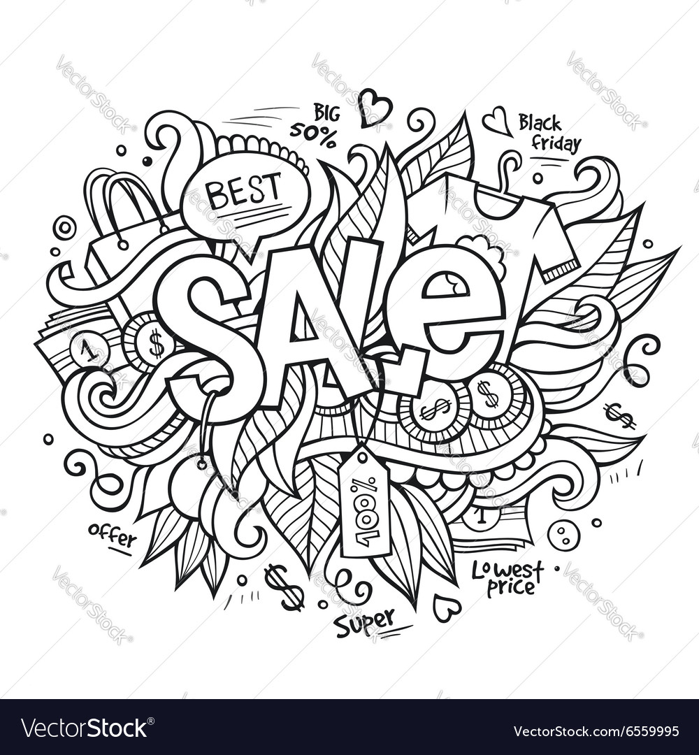 Sale hand lettering and doodles elements vector image