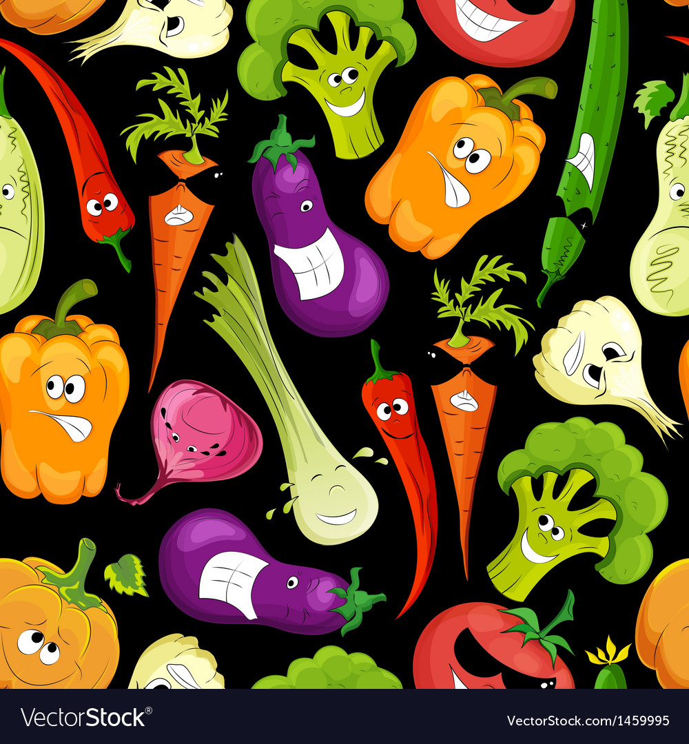 Seamless pattern funny vegetable vector image