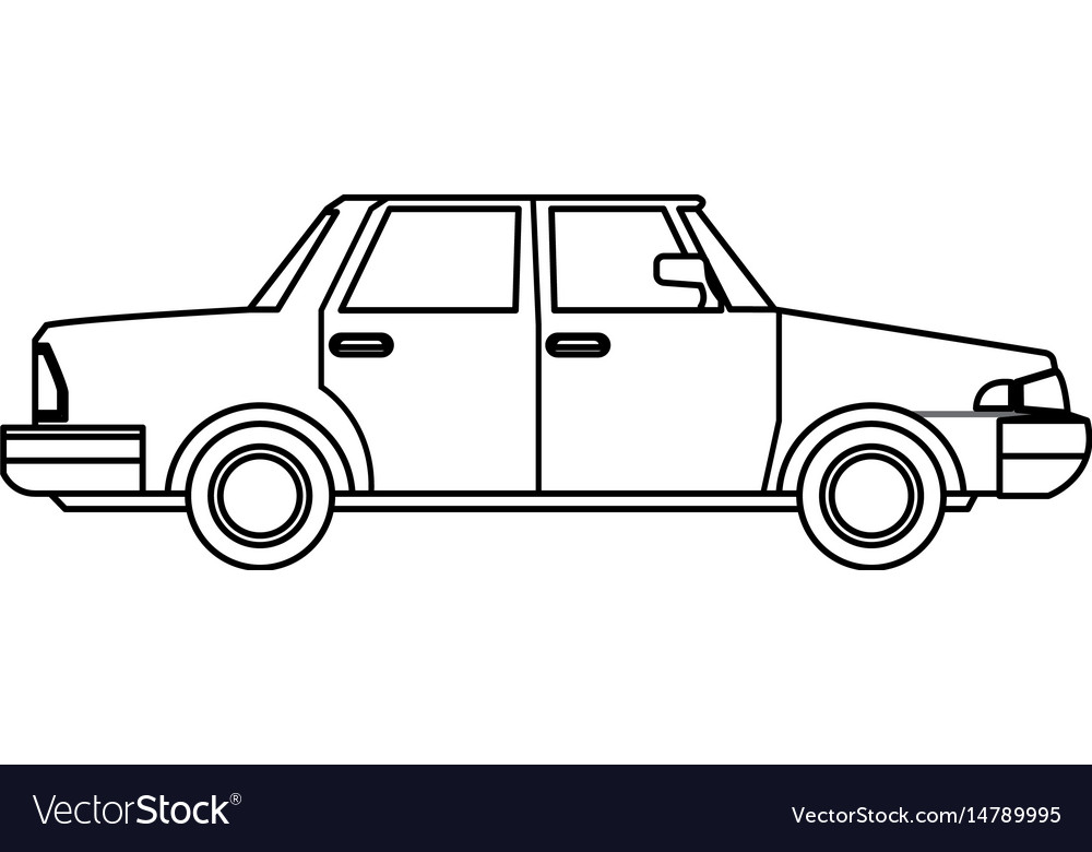 Sedan car vehicle transport image outline vector image