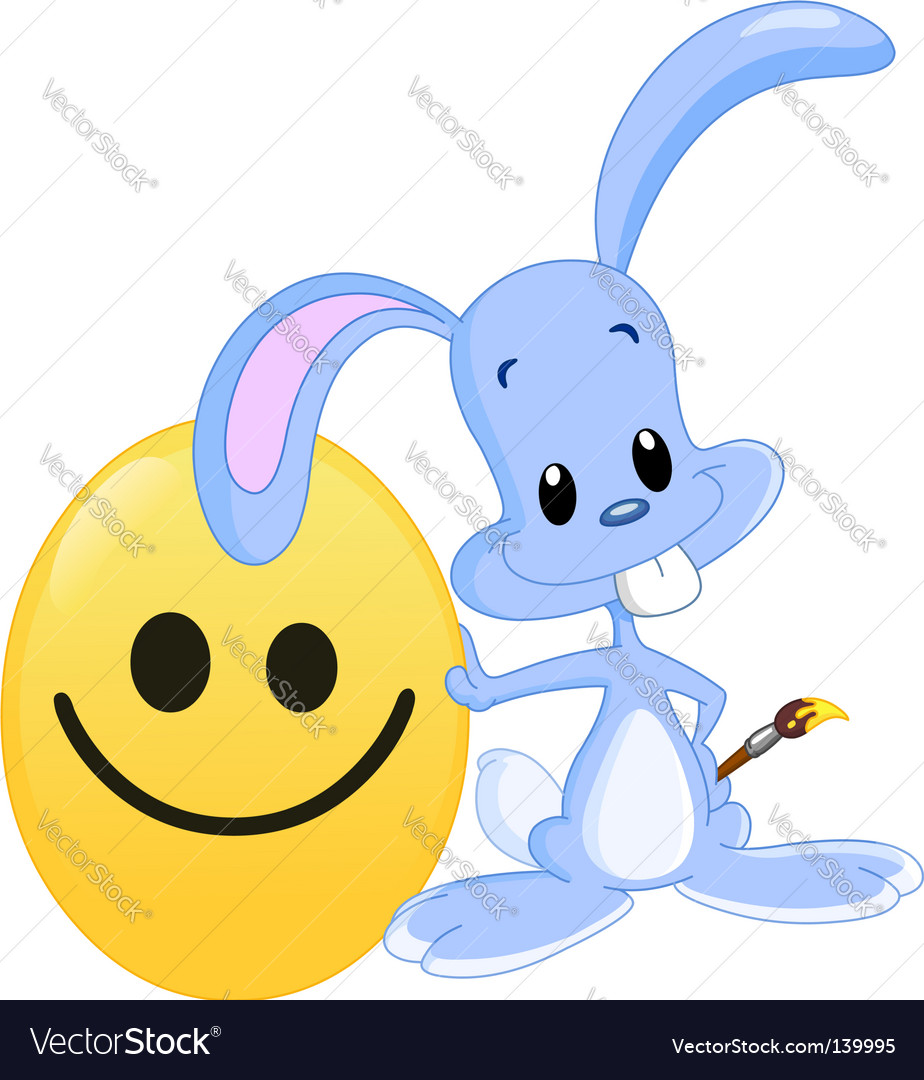 Smiley face and bunny vector image