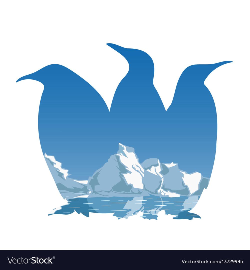 Three penguins silhouette concept