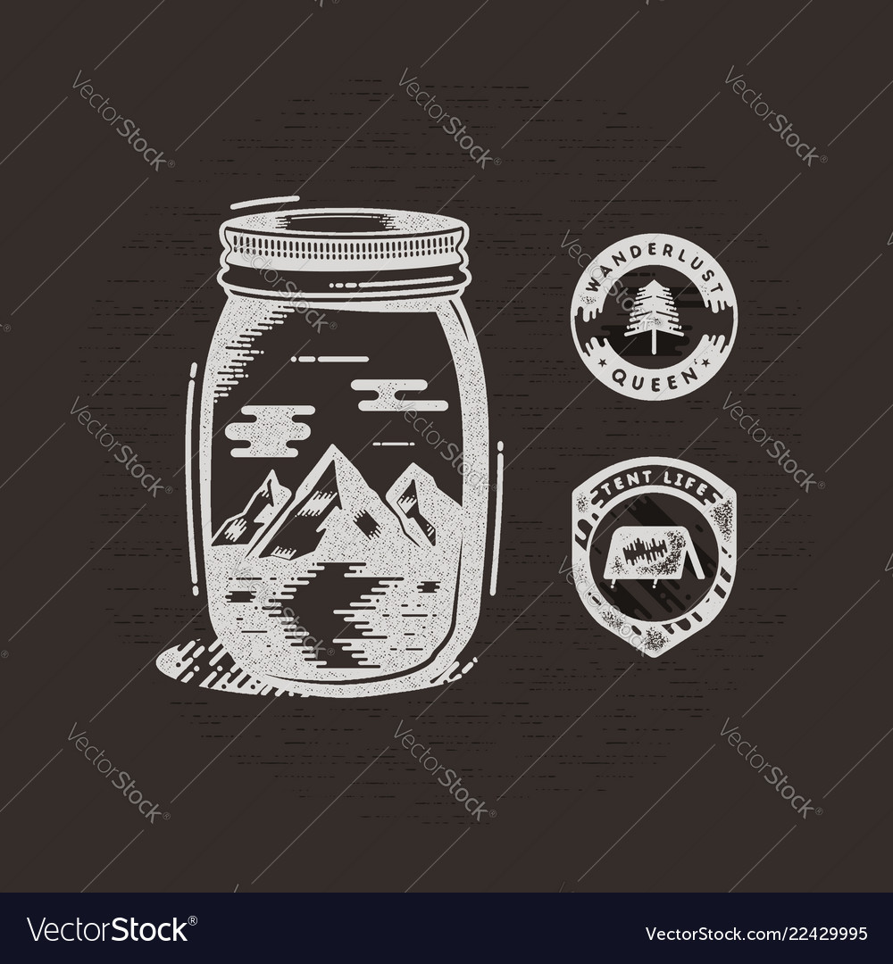 Vintage hand drawn camping badges and patches