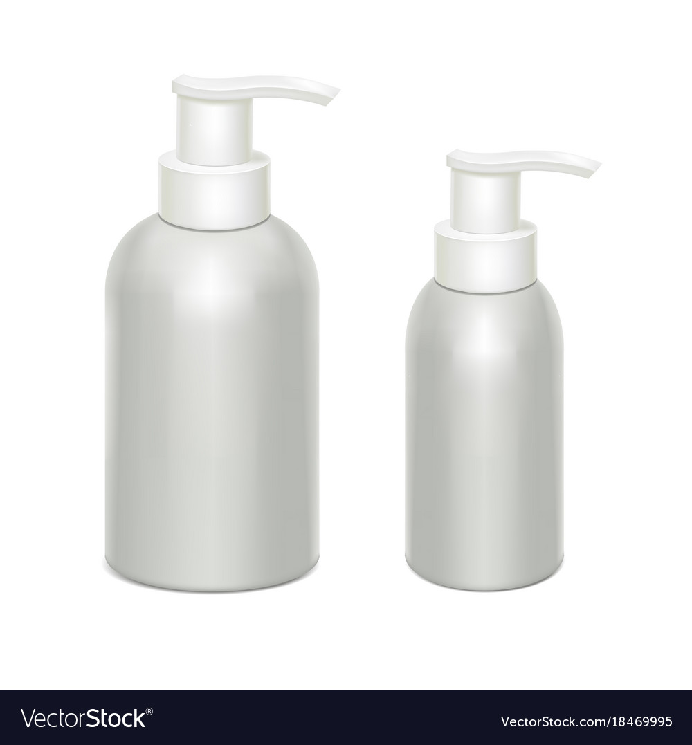 White bottles with dispenser