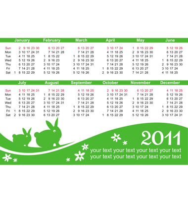 2011 Calendar Vector. Artist: Dianka; File type: Vector EPS
