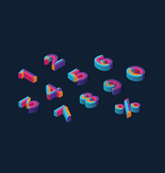 0 1 2 3 4 5 6 7 8 9 isometric 3d numeral vector