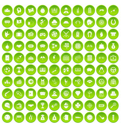 100 gambling icons set green circle vector