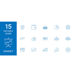15 market icons vector