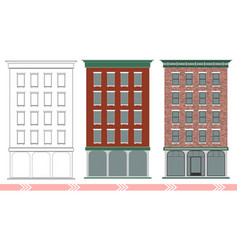 A classic american brick multi-storey house vector