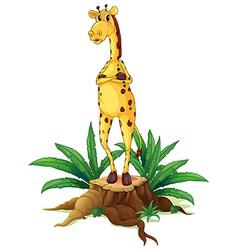 A giraffe standing above a stump vector image