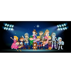 Actors in costumes on stage vector