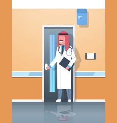 Arab male doctor with clipboard and stethoscope vector