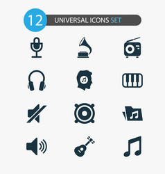 audio icons set collection of phonograph vector image
