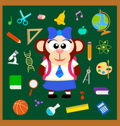 Back to school seamless background with monkey vector