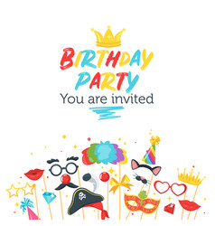 birthday party card design template vector image