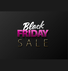 black friday sale banner on black vector image